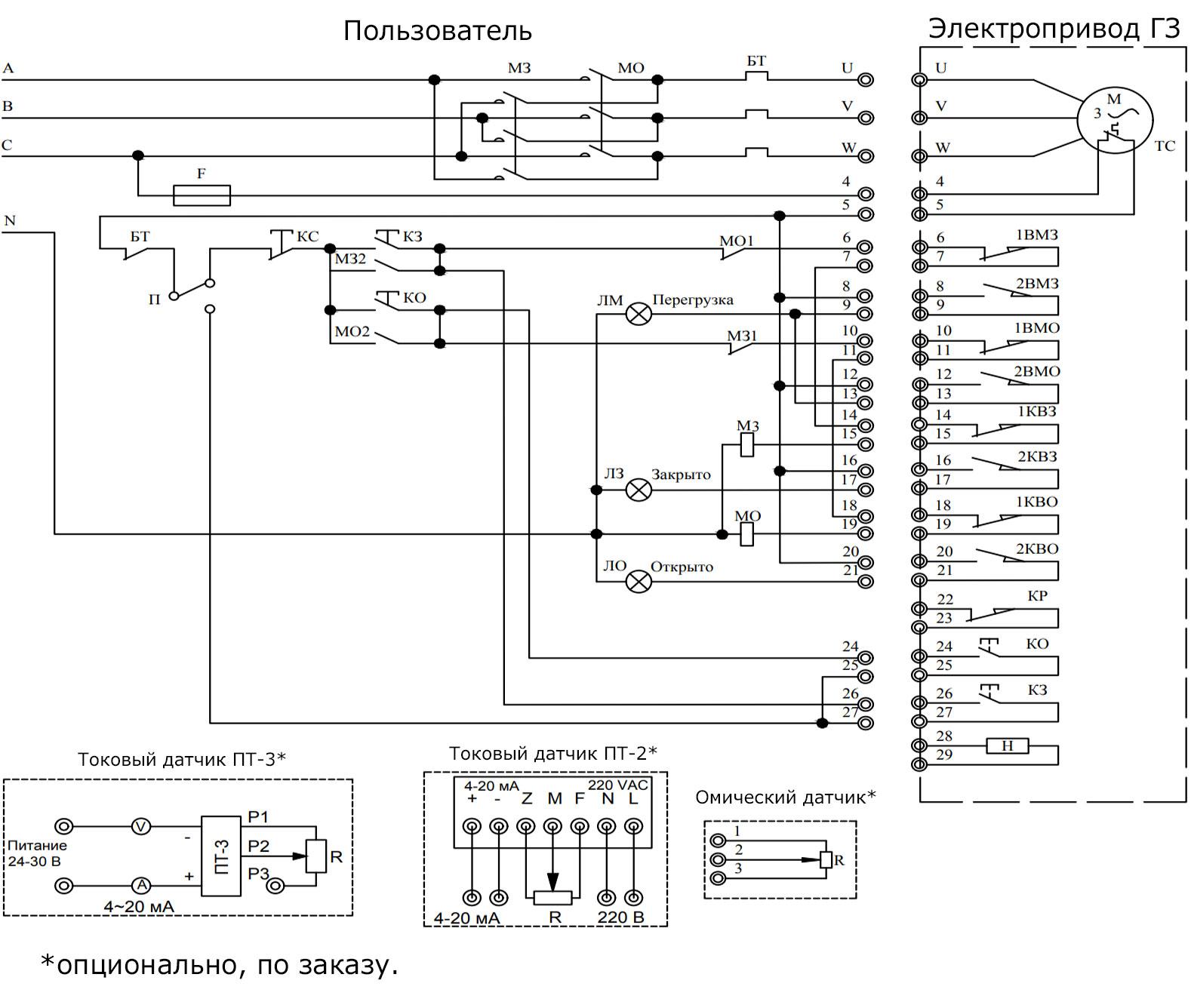 Принципиальная схема подключения для электроприводов серии ГЗ-А и ГЗ-Б