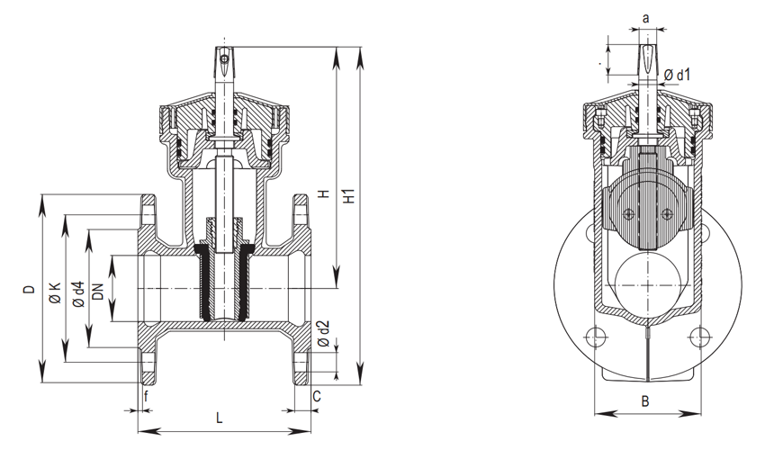 Схема Hawle-A 4000 A для DN 50 - DN 65