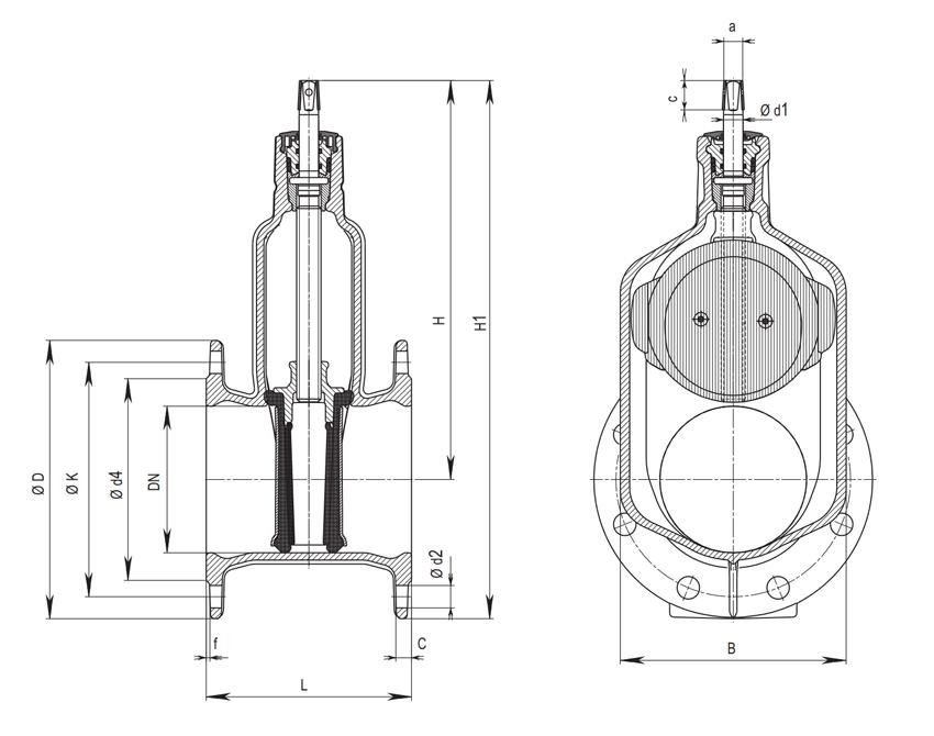 Схема Hawle-A 4000 A для DN 80 - DN 300